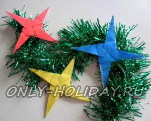 Объемная звезда оригами на елку к Новому году