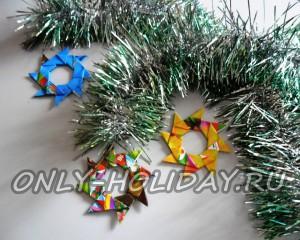 Елочная игрушка из модулей оригами: мастер-класс