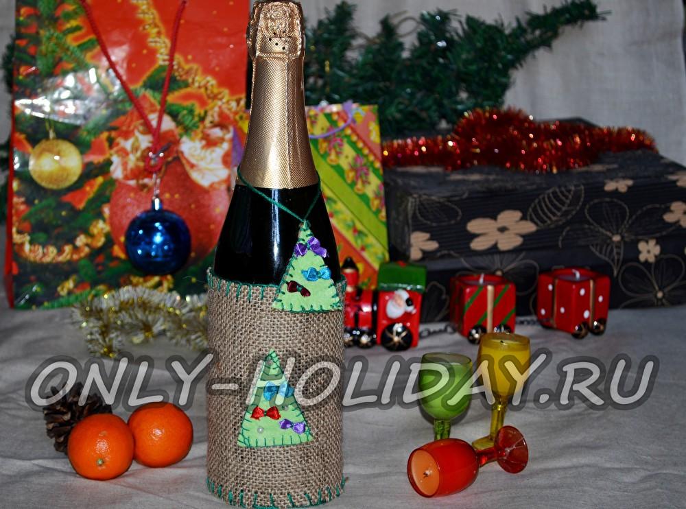Декор бутылки шампанского на Новый год 2015