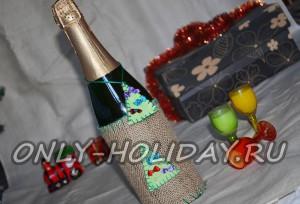 Новогодний декор шампанского и вина своими руками