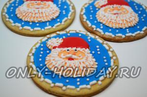 Песочное печенье Дед Мороз глазурью