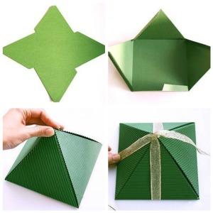 Изготовление упаковки в виде пирамидки