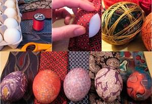 Яйца, крашенные шелком