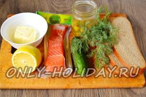 Ингредиенты для канапе с красной рыбой