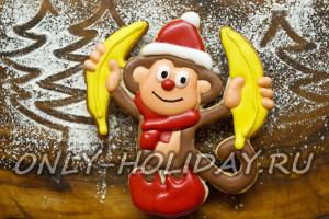"""Печенье """"Обезьянка с бананами"""" на Новый год 2016, фото рецепт"""