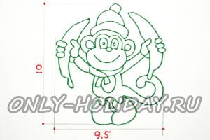 Из плотной бумаги, размером 9.5 х 10 сантиметров вырезаем обезьяну с бананами.