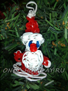 Елочная игрушка «дед Мороз» из резинок