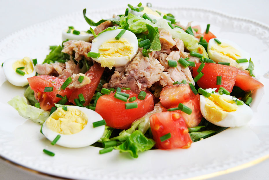 велик фото салат с тунцом и овощами текстильная ручной