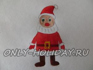 Коричневой краской рисуем сапожки и пояс Дед Мороза