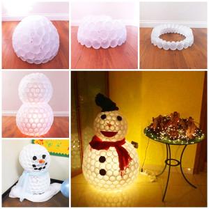 снеговик из пластиковых стаканчиков своими руками пошагово