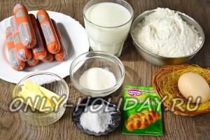 ингредиенты для сосисек в тесте