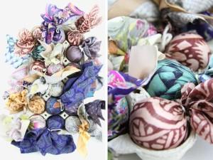 пасхальные яйца в шелковой ткани