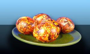 яйца, покрашенные луковой шелухой мраморные