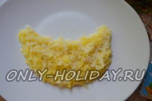 На широкой и плоской тарелке выложите тёртую картошку в форме дольки