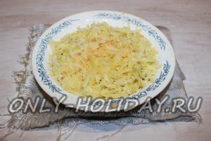 На лук выложить слой тертого картофеля