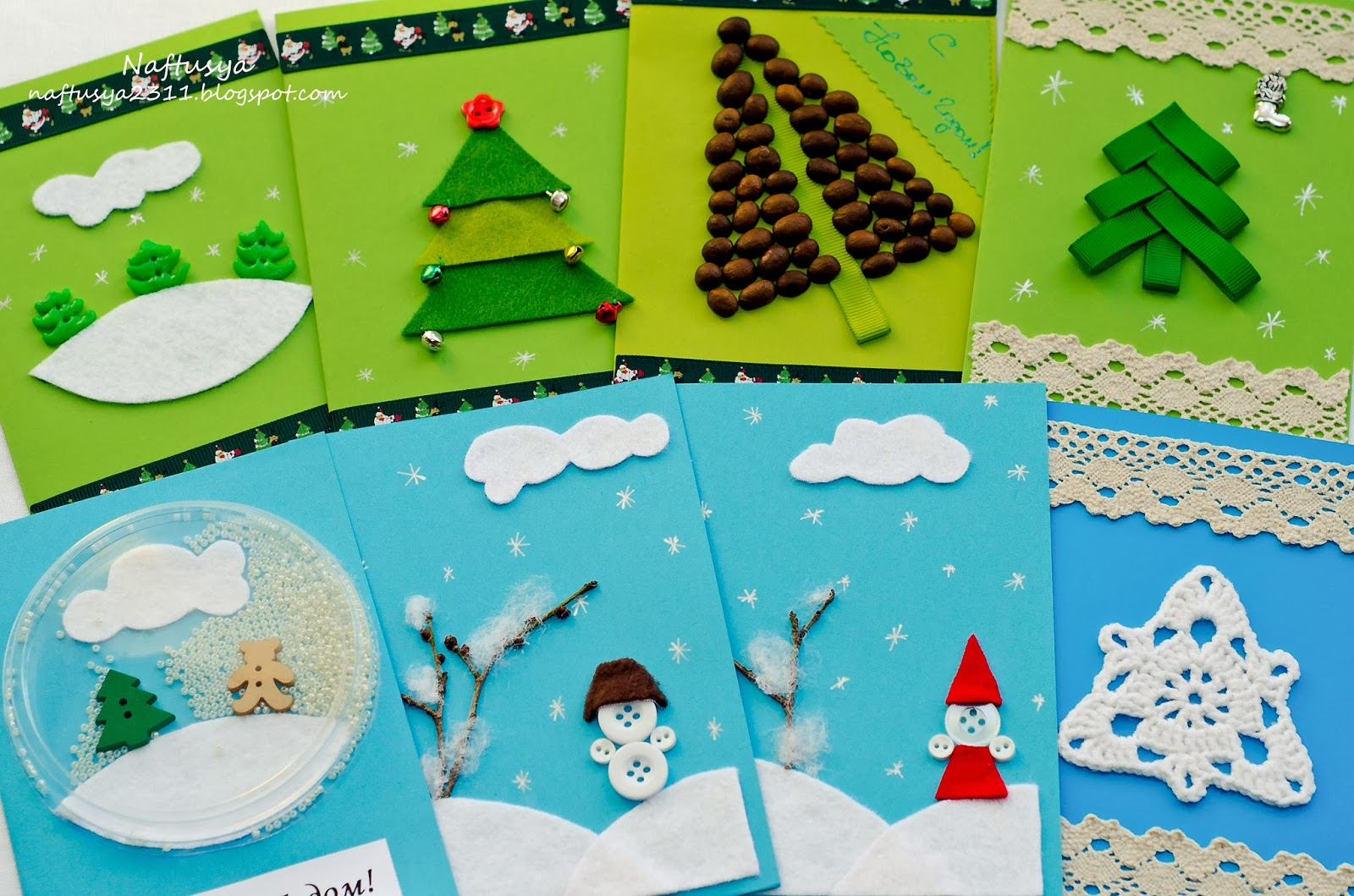 Аппликации на новый год открытки
