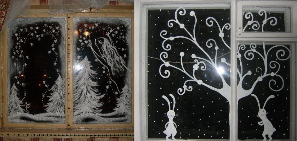 новогодние картинки красками на окна недавнему материалу