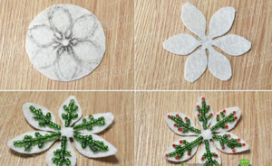 Снежинки украшенные бисером