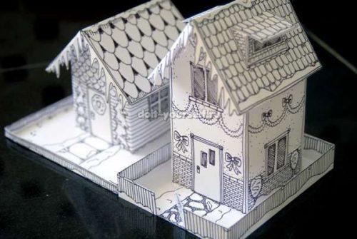 Новогодний домик из картона своими руками, шаблоны и схемы