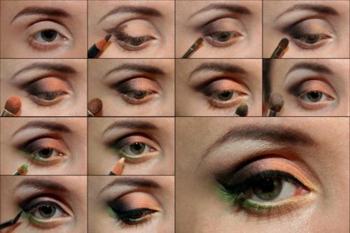 Вариант 1 макияжа для зеленых глаз