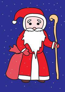 Мешок с подарками в руках у Деда Мороза