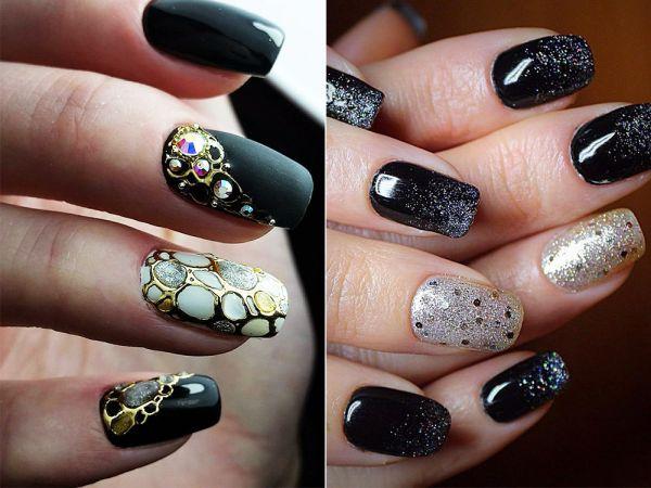 В 2019 году дизайн черных ногтей