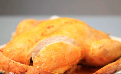 Курица, запеченная в соленой шубе
