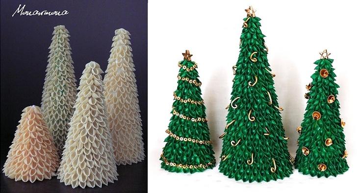 Новогодняя поделка елка из макарон своими руками