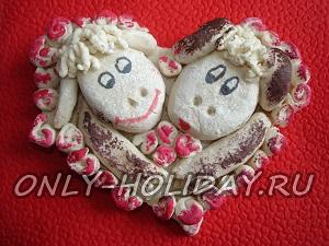 Баран и овечка на сердце из соленого теста. Мастер-класс