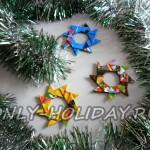 Яркая елочная игрушка из модулей оригами