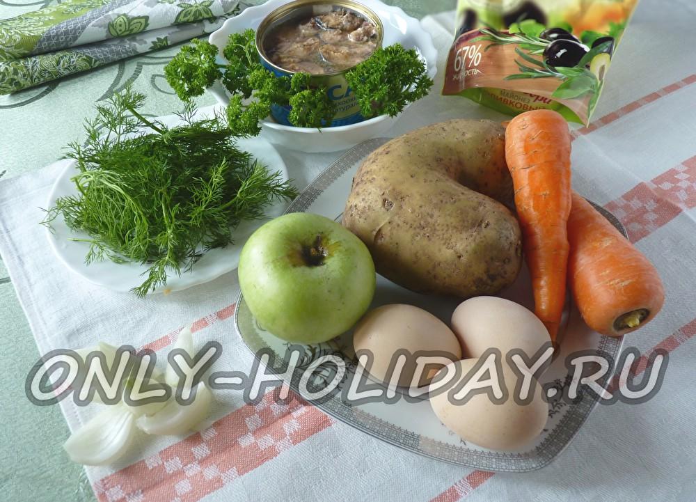 Рецепт салата мимоза с яблоком с