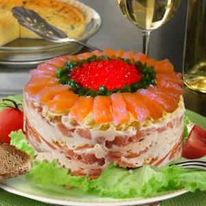 Салат с семгой (порционный)