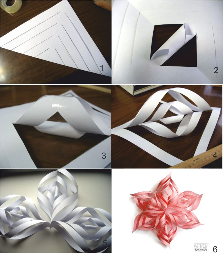 Новогодняя объёмная снежинка из бумаги своими руками