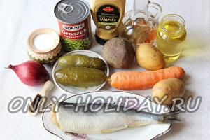 Приготовить все ингредиенты для винегрета с селедкой