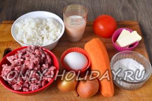 ингредиенты для ежиков из фарша с рисом