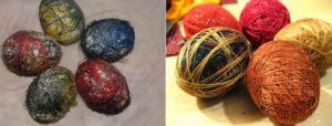 Покраска яиц  нитками мулине