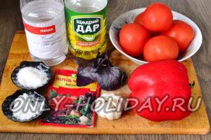 Ингредиенты для помидоров по корейски