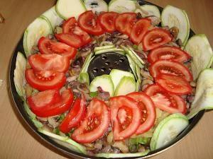 кабачки С грибами и помидорами