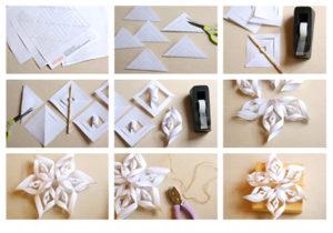 Cнежинки из бумаги: шаблоны для вырезания объемные, пошагово