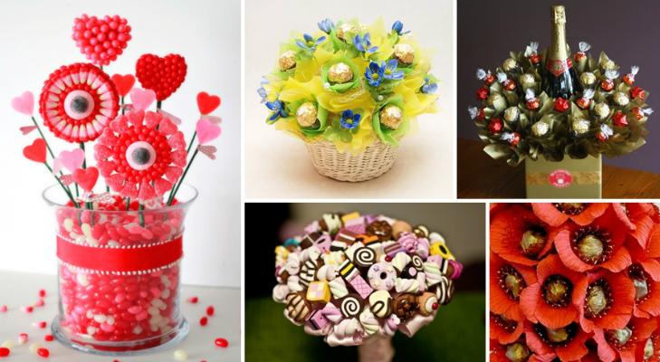Сделать букет из конфет самый простой способ