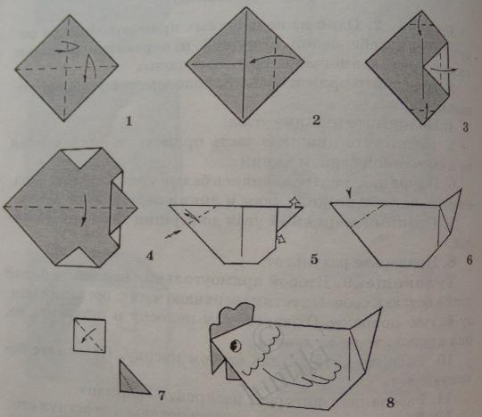 Петушок из бумаги своими руками оригами