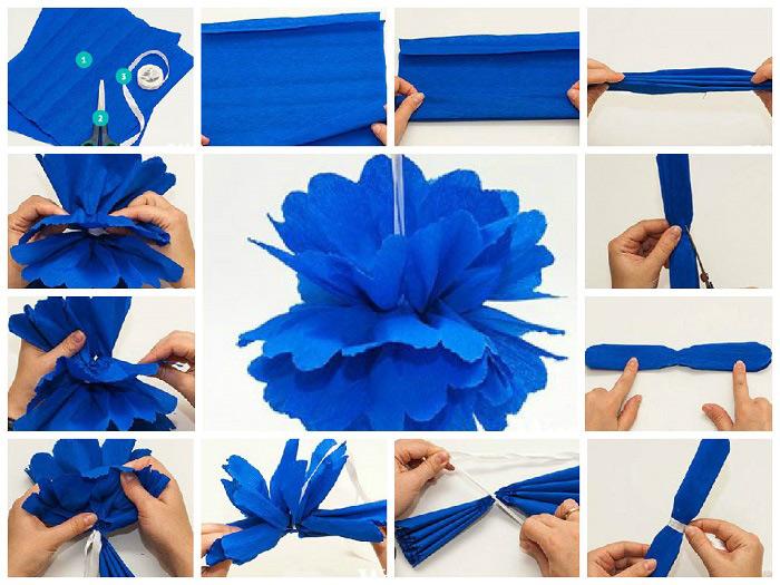 Бумажный помпон из креповой бумаги