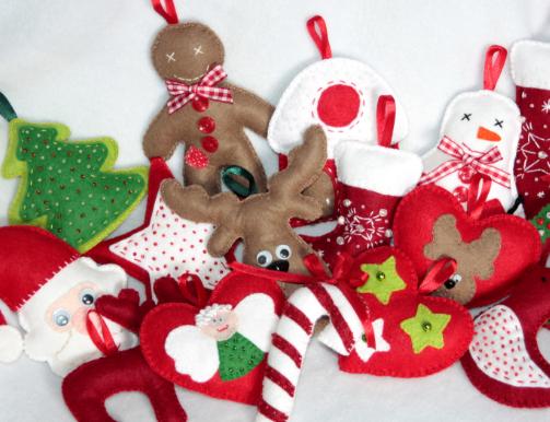 Новогодние игрушки своими руками из фетра с выкройками для начинающих
