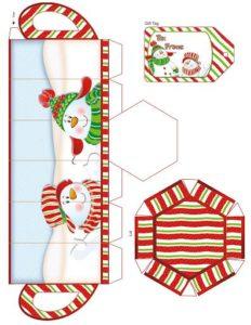шаблон новогодней коробочки