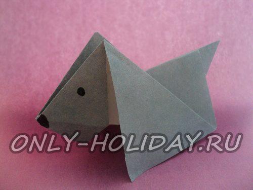 """Оригами """"Собака"""": схема для детей, пошаговая инструкция"""